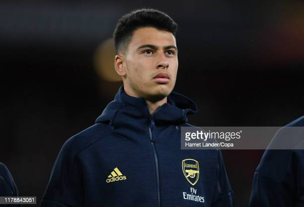Gabriel Martinelli of Arsenal looks on prior to the UEFA Europa League Group F match between Arsenal FC and Standard Liege at Emirates Stadium on...