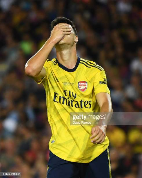 Gabriel Martinelli of Arsenal reacts after a missed chance during the Joan Gamper Trophy preseason friendly match between FC Barcelona and Arsenal at...
