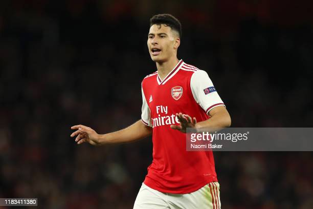 Gabriel Martinelli of Arsenal reacts during the UEFA Europa League group F match between Arsenal FC and Vitoria Guimaraes at Emirates Stadium on...