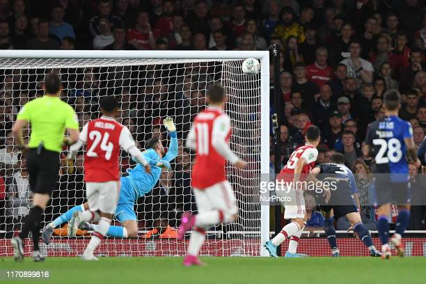 Gabriel Martinelli of Arsenal scores a goal to make it 10 during the Carabao Cup match between Arsenal and Nottingham Forest at the Emirates Stadium...