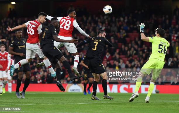 Gabriel Martinelli of Arsenal scores his team's first goal during the UEFA Europa League group F match between Arsenal FC and Vitoria Guimaraes at...