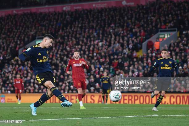 Gabriel Martinelli of Arsenal scores his team's third goal during the Carabao Cup Round of 16 match between Liverpool and Arsenal at Anfield on...