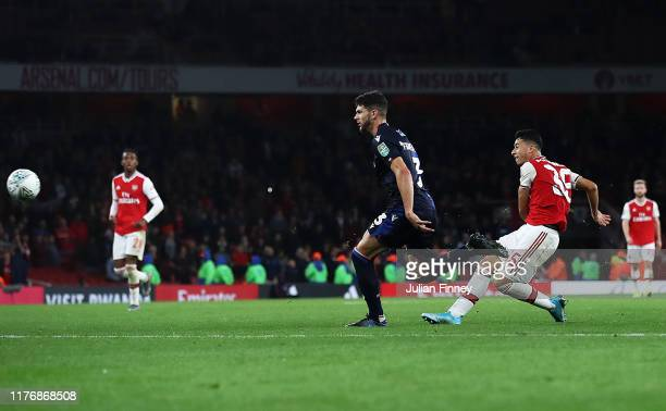 Gabriel Martinelli of Arsenal scores the fifth goal during the Carabao Cup Third Round match between Arsenal and Nottingham Forest at Emirates...