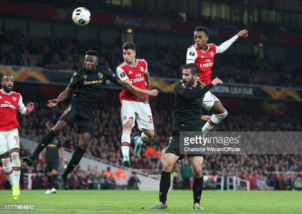 Gabriel Martinelli of Arsenal scores their 1st goal with a header during the UEFA Europa League group F match between Arsenal FC and Vitoria...