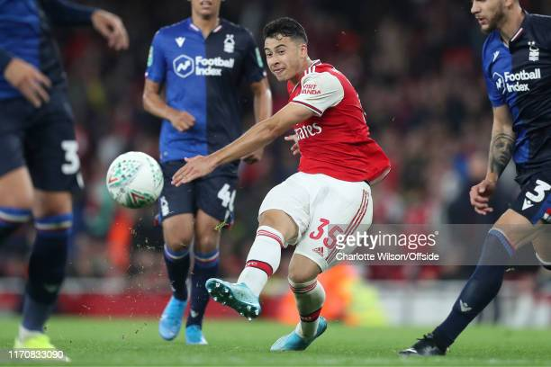 Gabriel Martinelli of Arsenal scores their 5th goal during the Carabao Cup Third Round match between Arsenal and Nottingham Forest at Emirates...