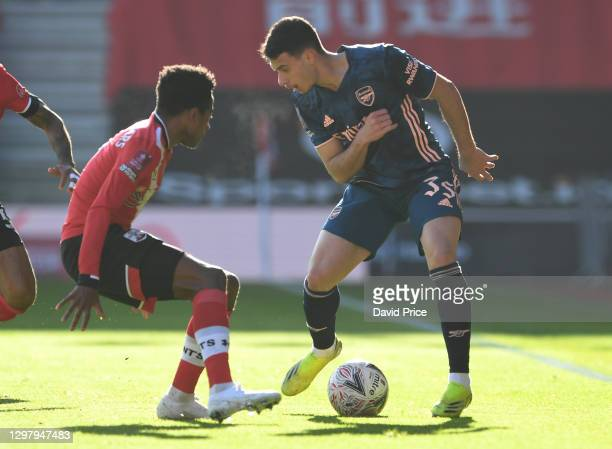 Gabriel Martinelli of Arsenal takes on Kyle Walker-Peters of Soutahmpton during the FA Cup 4th round match between Southampton and Arsenal on January...