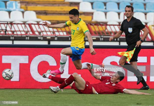 Gabriel Martinelli of Brazil in action against Gabriel Magalhaes of Serbia during the International football friendly match between Serbia U21 and...