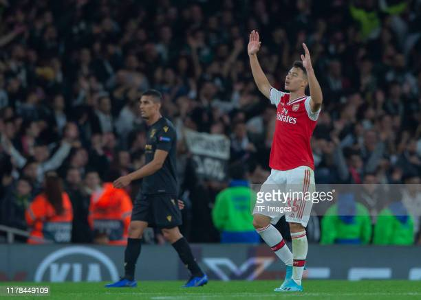 Gabriel Martinelli of FC Arsenal celebrates after scoring during the UEFA Europa League group F match between Arsenal FC and Vitoria Guimaraes at...
