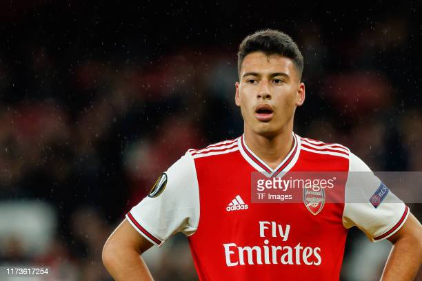 Gabriel Martinelli of FC Arsenal looks on during the UEFA Europa League group F match between Arsenal FC and Standard Liege at Emirates Stadium on...