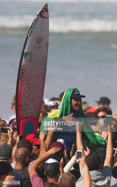 Gabriel Medina from Brazil celebrates after winning the Meo Rip Curl Pro Portugal at the end of the Final of the Meo Rip Curl Pro Portugal 2017 at...