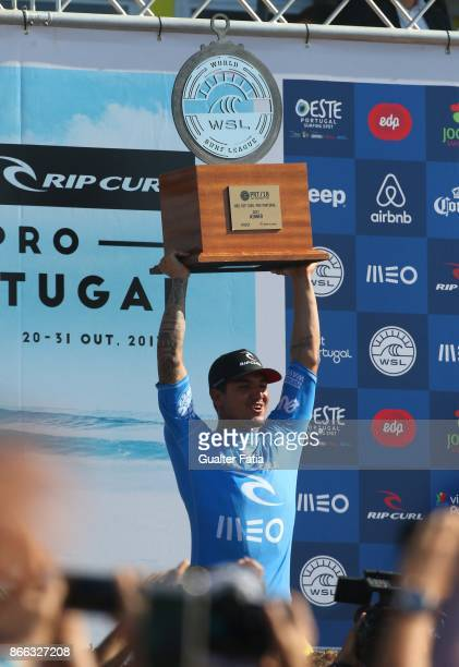 Gabriel Medina from Brazil celebrates with trophy the victory in the Meo Rip Curl Pro Portugal at the end of the Final of the Meo Rip Curl Pro...