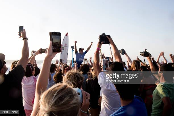 Gabriel Medina from Brazil takes a crowd bath during the Quicksilver Pro France surf competition on October 14 2017 in Hossegor France The French...