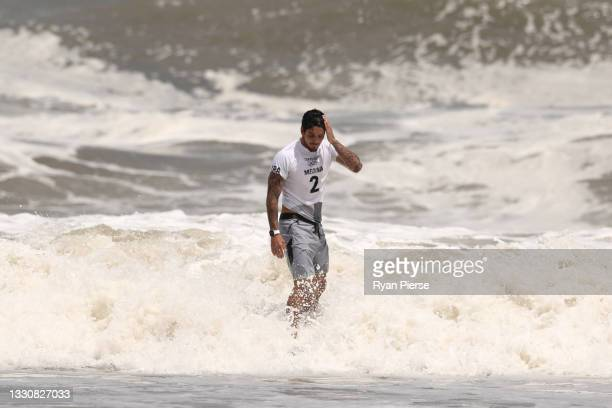 Gabriel Medina of Team Brazil shows disappointment after losing his mens's semi final against Kanoa Igarashi of Team Japan on day four of the Tokyo...