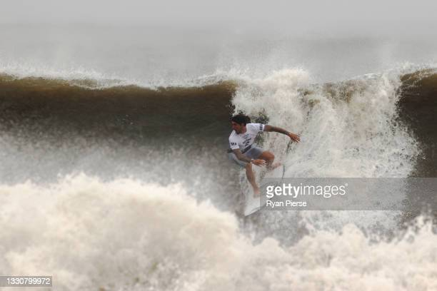 Gabriel Medina of Team Brazil surfs during the men's Quarter Final on day four of the Tokyo 2020 Olympic Games at Tsurigasaki Surfing Beach on July...