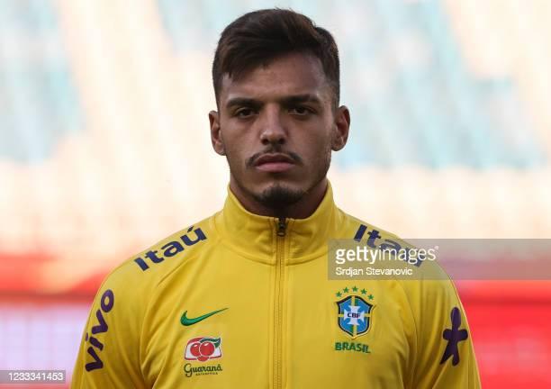 Gabriel Menino of Brazil looks on prior to the International football friendly match between Serbia U21 and Brazil U23 at stadium Rajko Mitic on June...