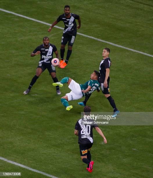 Gabriel Menino of Palmeiras kicks the ball during a match between Palmeiras and Ponte Preta as part of the State Championship Semi-Final at Allianz...