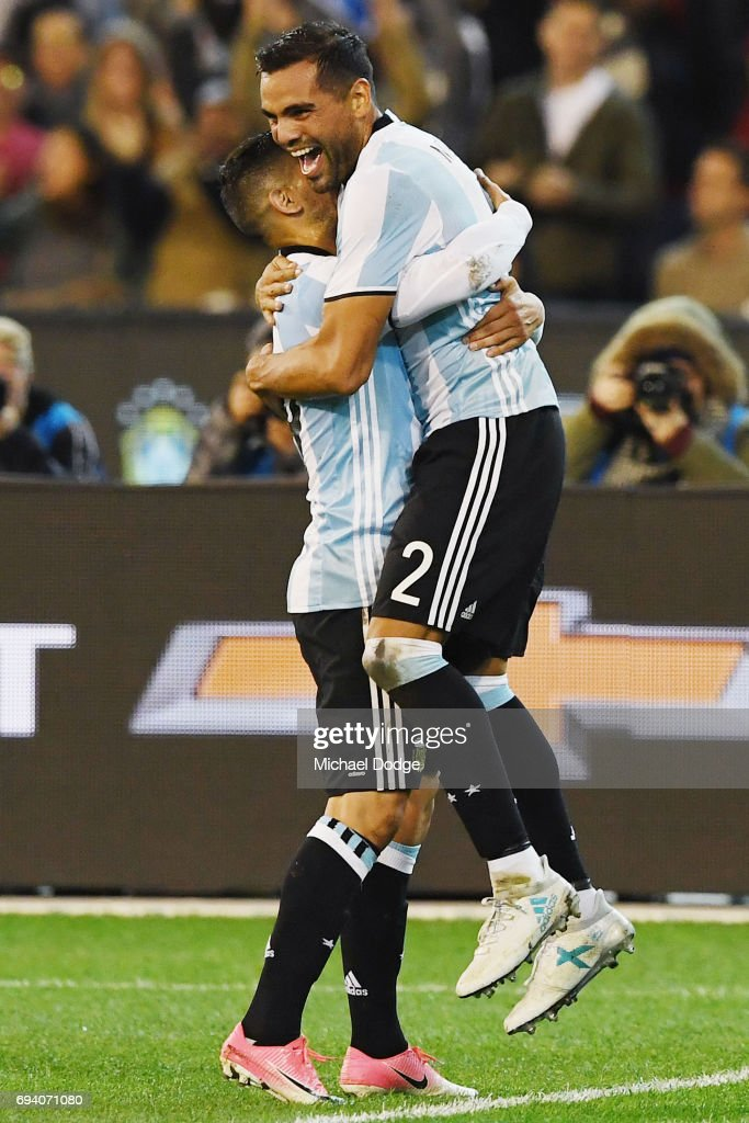 Gabriel Mercado (R) of Argentina celebrates a goal during the Brasil Global Tour match between Brazil and Argentina at Melbourne Cricket Ground on June 9, 2017 in Melbourne, Australia.