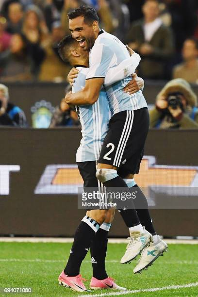 Gabriel Mercado of Argentina celebrates a goal during the Brasil Global Tour match between Brazil and Argentina at Melbourne Cricket Ground on June 9...