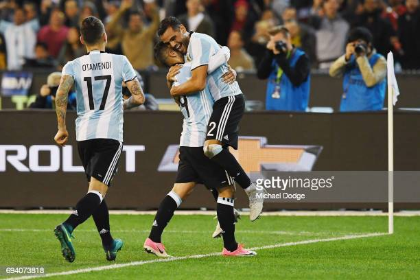 Gabriel Mercado of Argentina celebrates a goal with teammates during the Brasil Global Tour match between Brazil and Argentina at Melbourne Cricket...