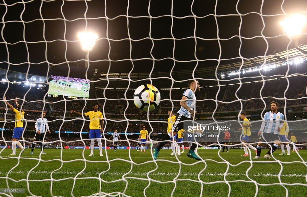 Gabriel Mercado of Argentina celebrates after scoring a goal during the Brazil Global Tour match between Brazil and Argentina at Melbourne Cricket Ground on June 9, 2017 in Melbourne, Australia.