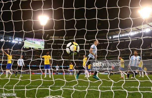 Gabriel Mercado of Argentina celebrates after scoring a goal during the Brazil Global Tour match between Brazil and Argentina at Melbourne Cricket...