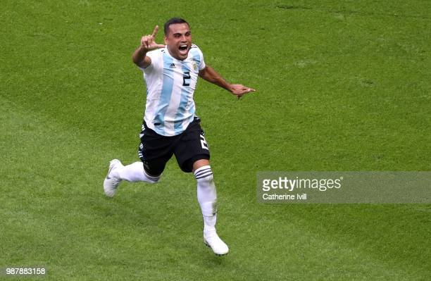 Gabriel Mercado of Argentina celebrates after scoring his team's second goal during the 2018 FIFA World Cup Russia Round of 16 match between France...