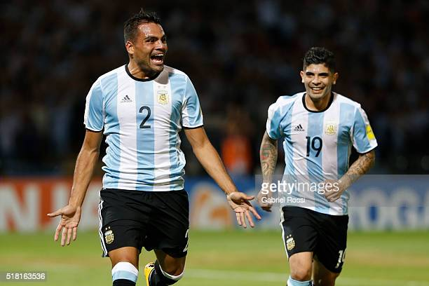 Gabriel Mercado of Argentina celebrates after scoring the first goal of his team during a match between Argentina and Bolivia as part of FIFA 2018...