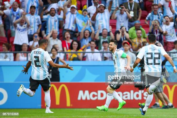 Gabriel Mercado of Argentina celebrates scoring a goal to make it 12 during the 2018 FIFA World Cup Russia Round of 16 match between France and...