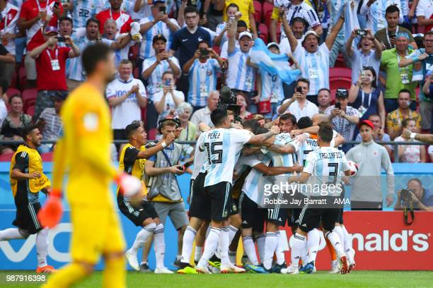 Gabriel Mercado of Argentina celebrates scoring a goal to make it 1-2 during the 2018 FIFA World Cup Russia Round of 16 match between France and...