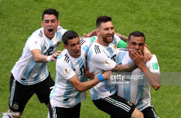 Gabriel Mercado of Argentina celebrates with teammates after scoring his team's second goal during the 2018 FIFA World Cup Russia Round of 16 match...