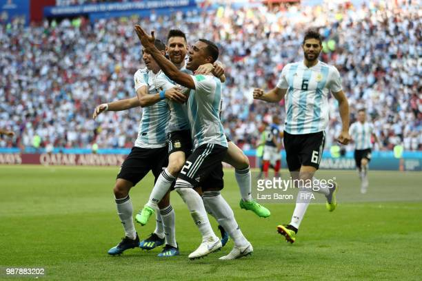 Gabriel Mercado of Argentina celebrates with teammtes after scoring his team's second goal during the 2018 FIFA World Cup Russia Round of 16 match...