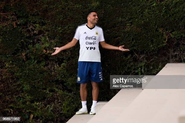 Gabriel Mercado of Argentina gestures before a training session as part of the team preparation for FIFA World Cup Russia 2018 at FC Barcelona 'Joan...