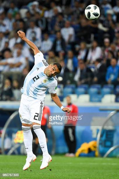 Gabriel Mercado of Argentina headed the ball during the FIFA World Cup Group D match between Argentina and Croatia at Nizhny Novogorod Stadium in...
