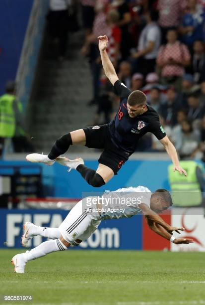 Gabriel Mercado of Argentina in action against Ante Rebic of Croatia during the 2018 FIFA World Cup Russia Group D match between Argentina and...