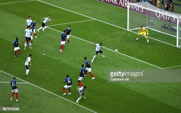 Gabriel Mercado of Argentina scores his team's second goal during the 2018 FIFA World Cup Russia Round of 16 match between France and Argentina at...