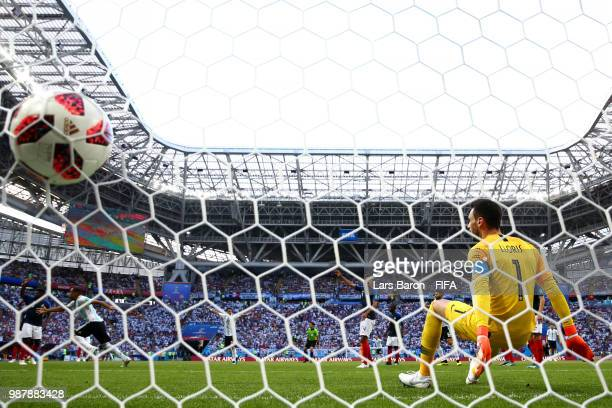 Gabriel Mercado of Argentina scores his team's second goal past Hugo Lloris of France during the 2018 FIFA World Cup Russia Round of 16 match between...