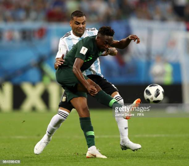 Gabriel Mercado of Argentina tackles Ahmed Musa of Nigeria during the 2018 FIFA World Cup Russia group D match between Nigeria and Argentina at Saint...