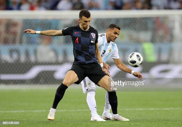 Gabriel Mercado of Argentina tackles Ivan Perisic of Croatia during the 2018 FIFA World Cup Russia group D match between Argentina and Croatia at...