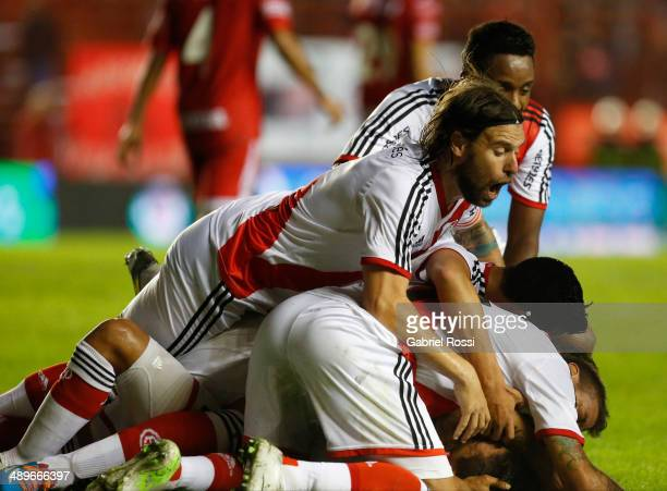 Gabriel Mercado of River Plate and teammates celebrate the opening goal during a match between Argentinos Juniors and River Plate as part of 18th...