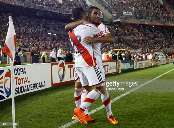 Gabriel Mercado of River Plate celebrates a scored goal with his teammate Sebastian Driussi during a second leg match between River Plate and...