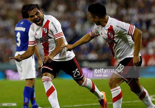 Gabriel Mercado of River Plate celebrates after scoring during a match between Velez Sarsfield and River Plate as part of 15th round of Torneo de...