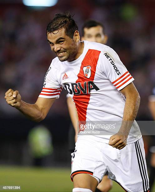 Gabriel Mercado of River Plate celebrates after scoring the first goal of his team during a second leg match between River Plate and Libertad as part...
