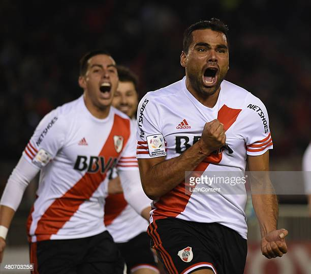 Gabriel Mercado of River Plate celebrates after scoring the opening goal during a first leg Semi Final match between River Plate and Guarani as part...