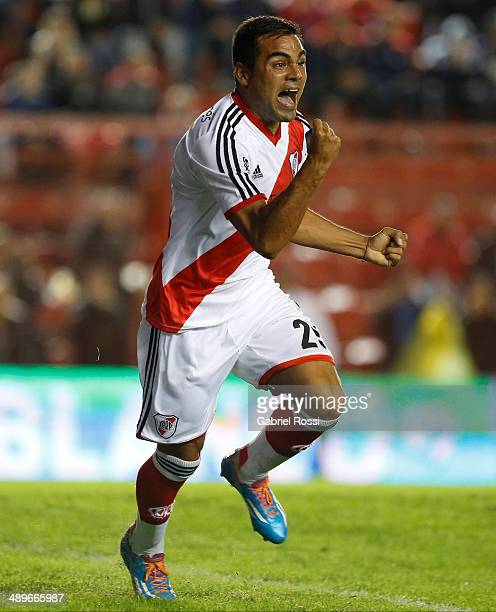 Gabriel Mercado of River Plate celebrates after scoring the opening goal during a match between Argentinos Juniors and River Plate as part of 18th...