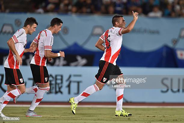 Gabriel Mercado of River Plate celebrates after scoring the second goal of his team during a match between Gamba Osaka and River Plate as part of...