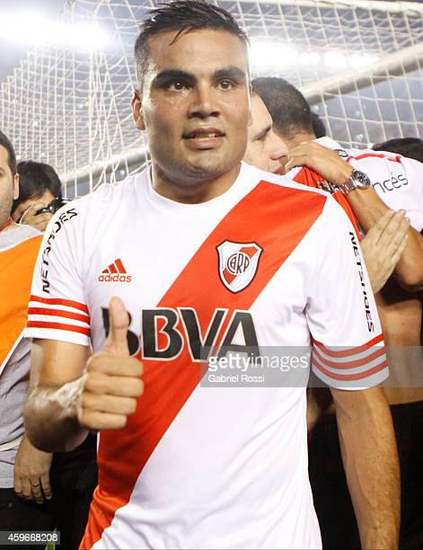 Gabriel Mercado of River Plate gives a thumb up after winning a second leg semifinal match between River Plate and Boca Juniors as part of Copa Total...