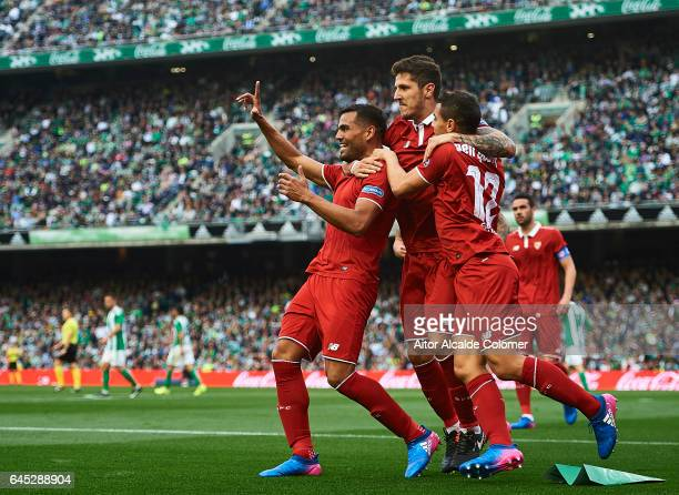Gabriel Mercado of Sevilla FC celebrates after scoring with his team mates Stevan Jovetic and Wissam Ben Yedder of Sevilla FC during La Liga match...