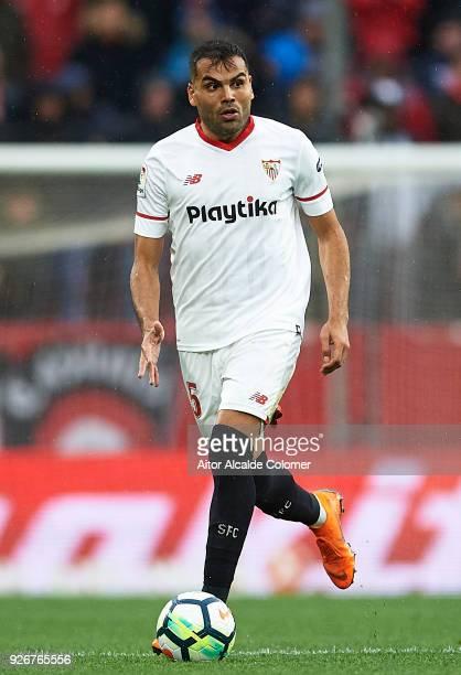 Gabriel Mercado of Sevilla FC in action during the La Liga match between Sevilla and Athletic Club at Estadio Ramon Sanchez Pizjuan on March 3 2018...