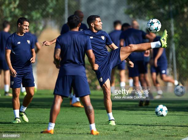 Gabriel Mercado of Sevilla FC in action during the training session prior to their UEFA Champions League match against Maribor at training ground of...
