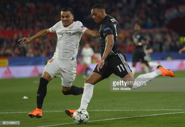 Gabriel Mercado of Sevilla in action with Anthony Martial of Manchester United during the UEFA Champions League Round of 16 First Leg match between...